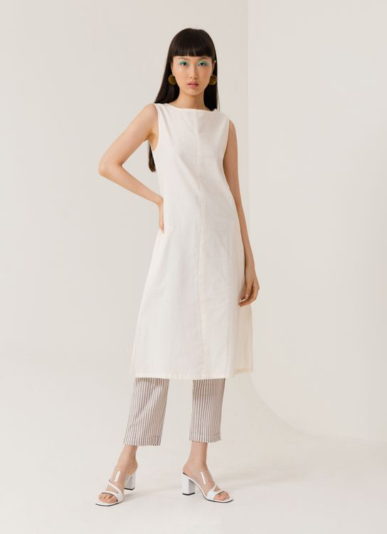 ATS THE LABEL Paloma White Long Top - White