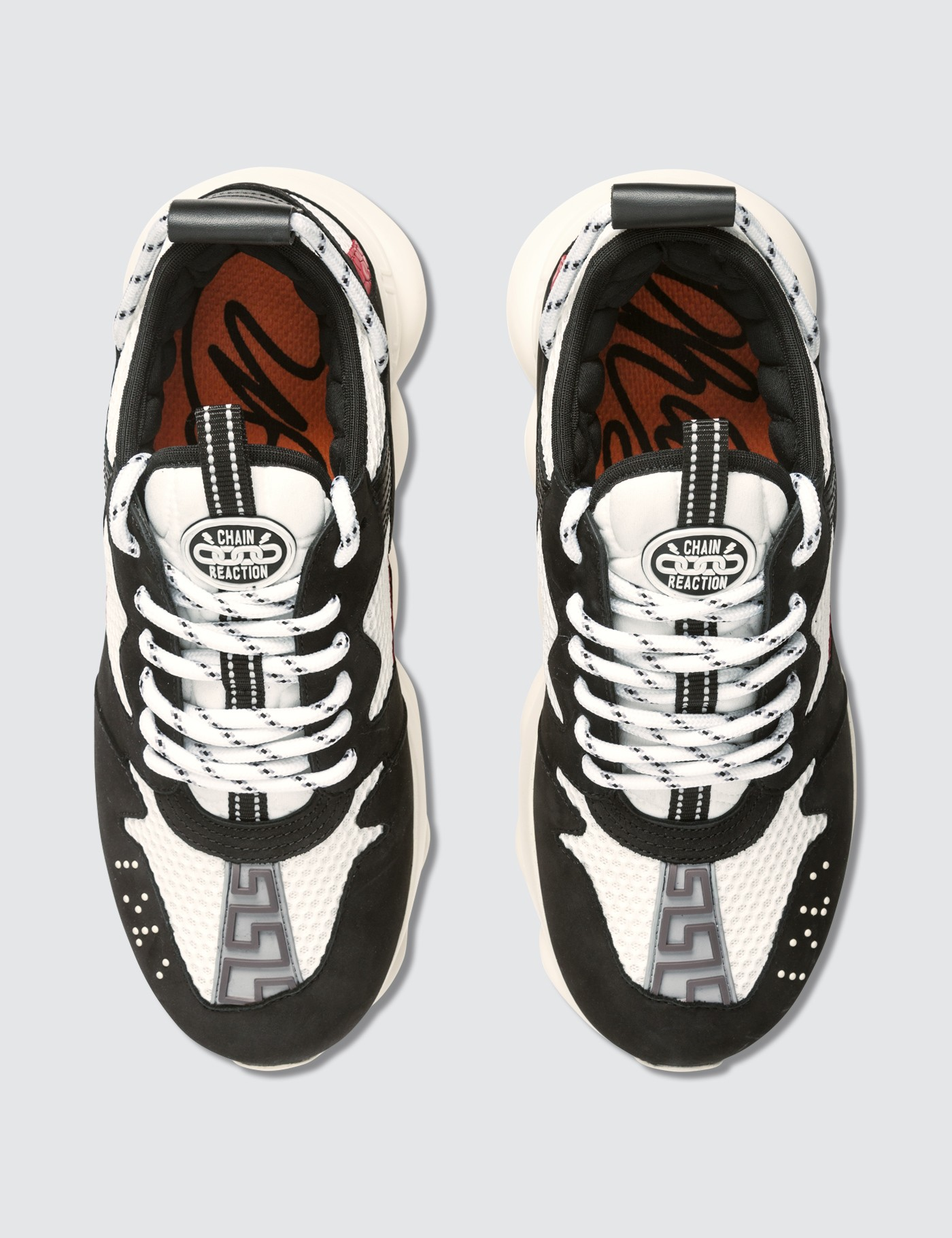 Versace Two Tone Chain Reaction Sneakers