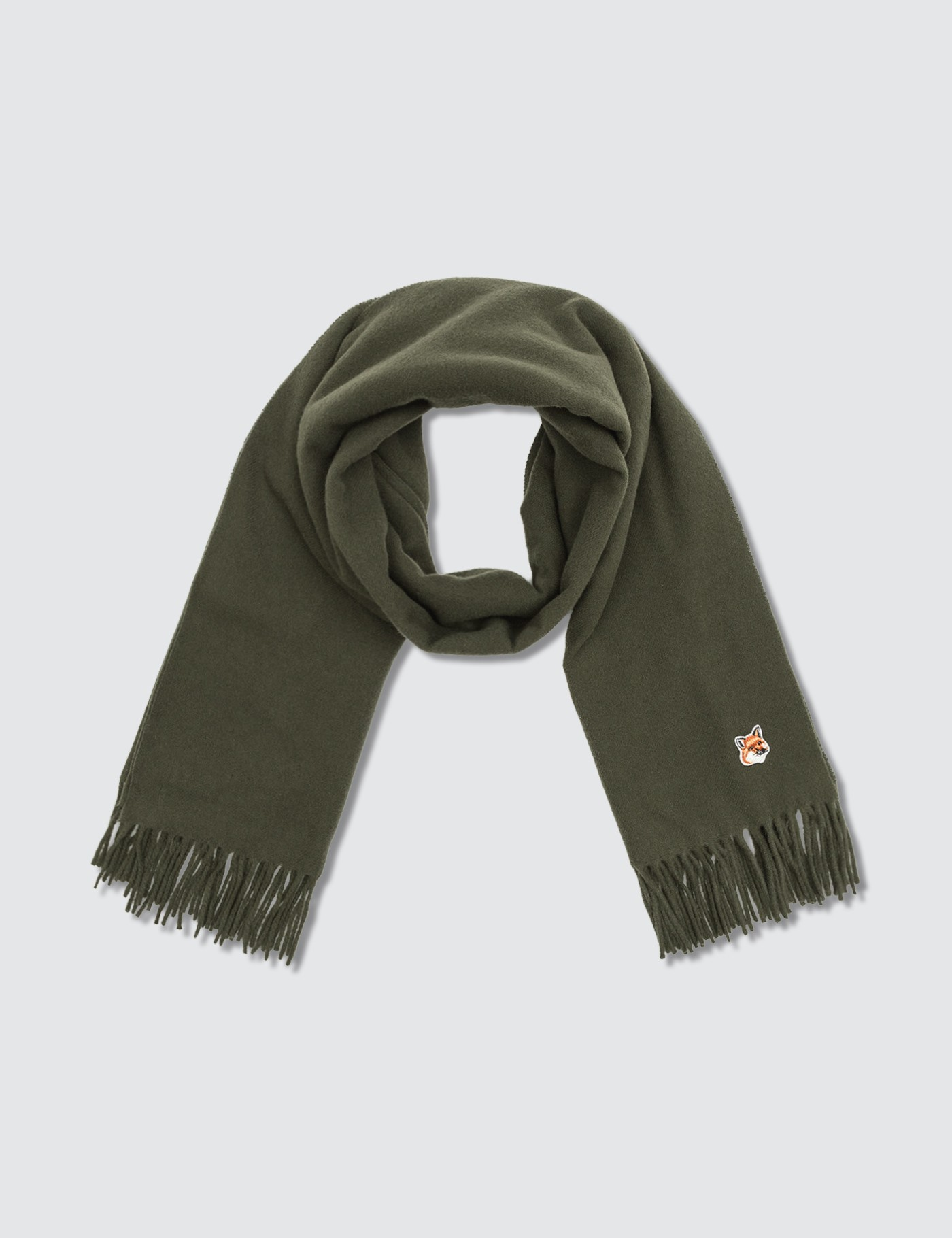 MAISON KITSUNE Small Fox Head Wool Scarf