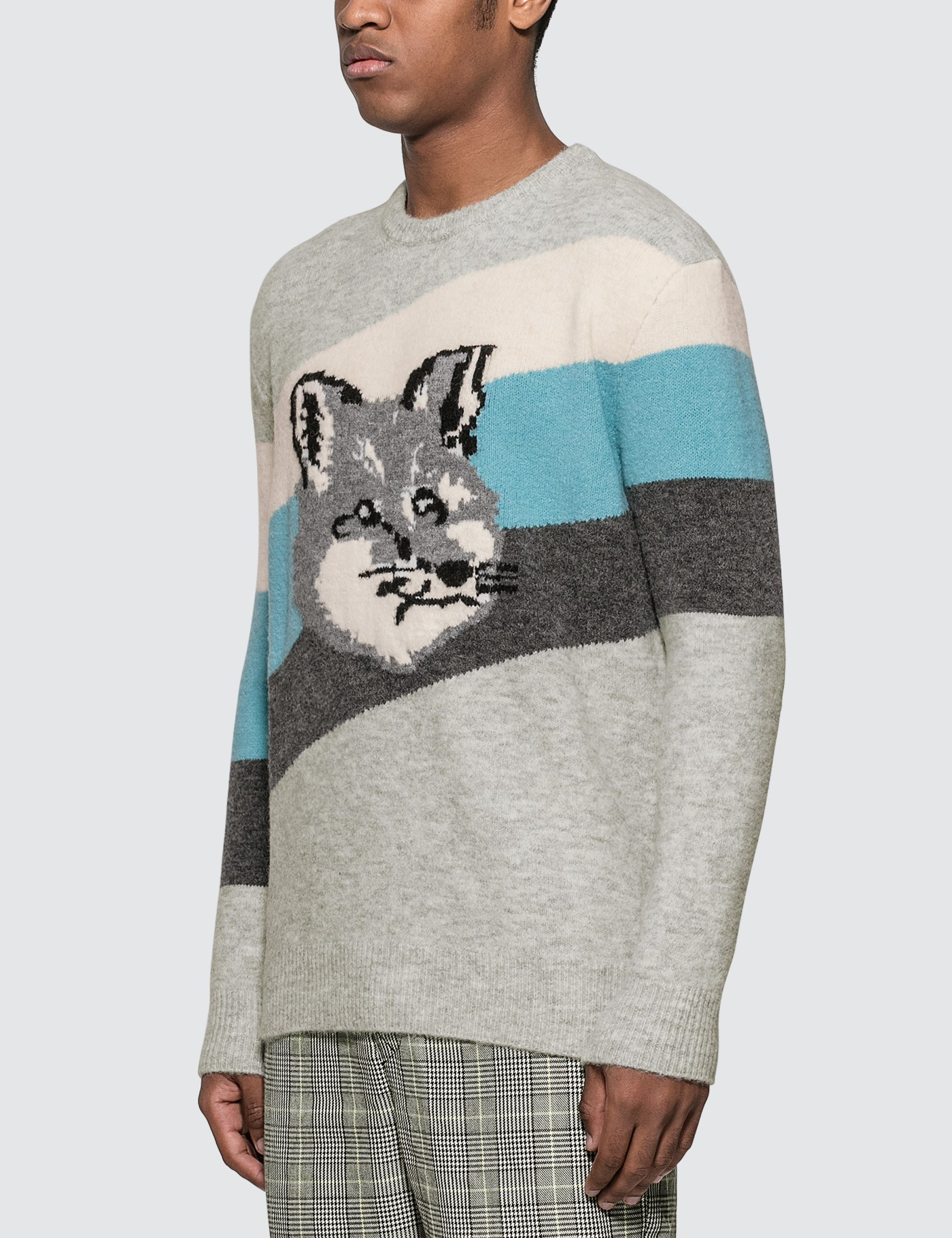 MAISON KITSUNE Fox Head Diagonal Stripes Pullover