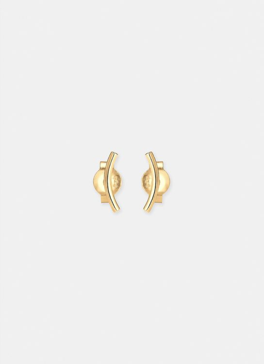 Elli Germany Earrings Curved Geo Studs 925 Plated - Silver Gold