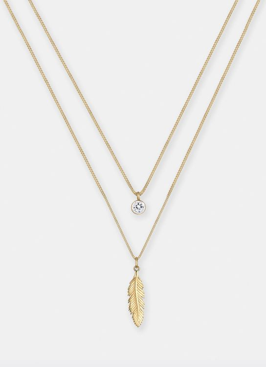 Elli Germany Necklace Feather Swarovski Crystals 925 Plated - Silver Gold