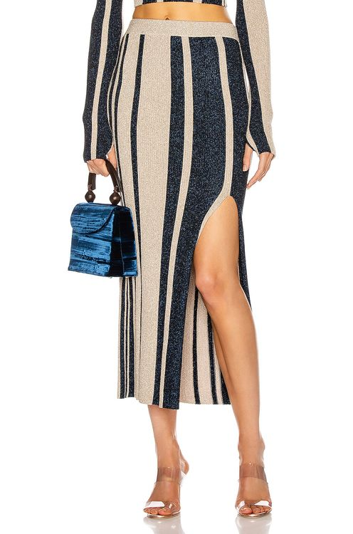 Self Portrait Stripe Knit Midi Skirt
