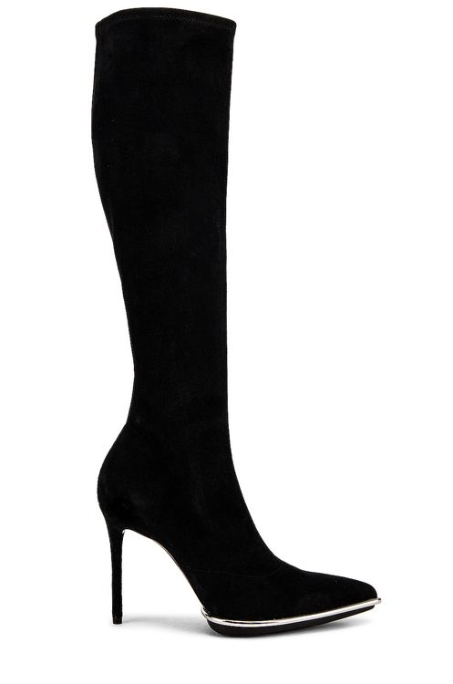 Alexander Wang Cara Knee High Black Stretch Suede Boot