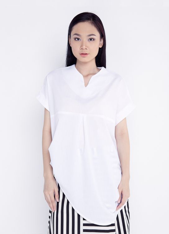 Ree Front Drapes Blouse - White