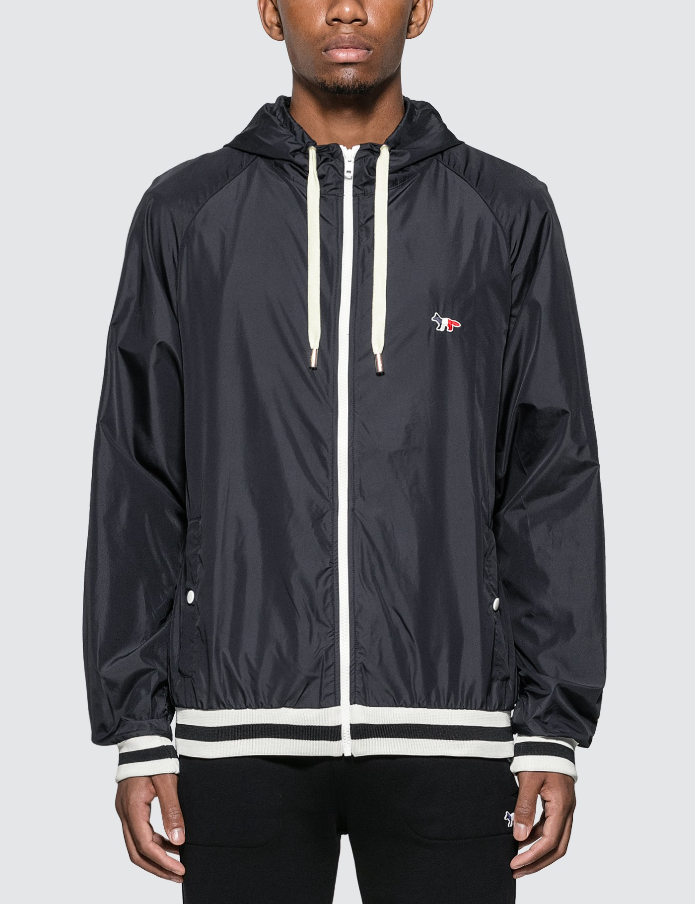MAISON KITSUNE Tricolor Fox Patch Hooded Windbreaker