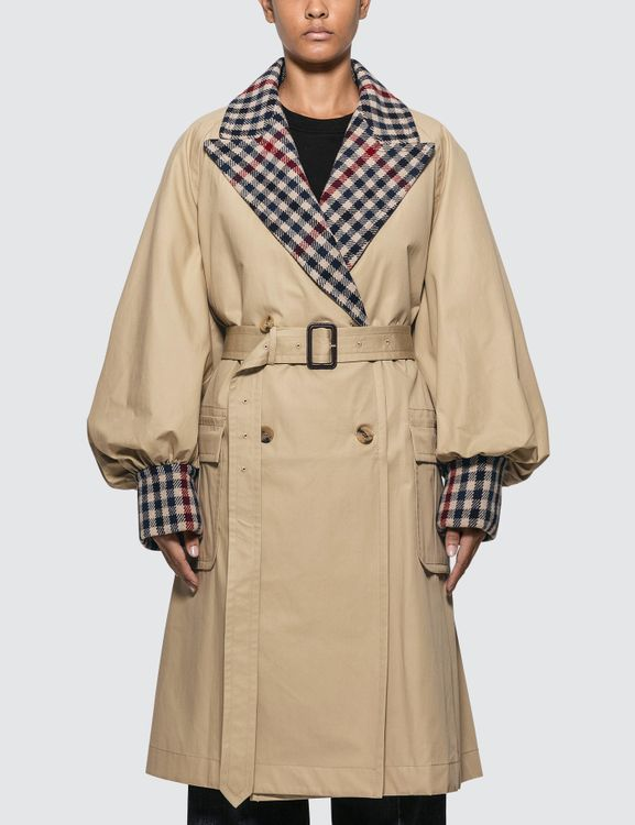 J.W.Anderson Trench Coat With Check Contrast