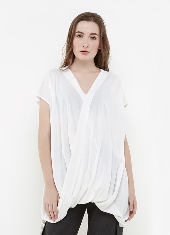 Ree Long Drapped Blouse Off - White