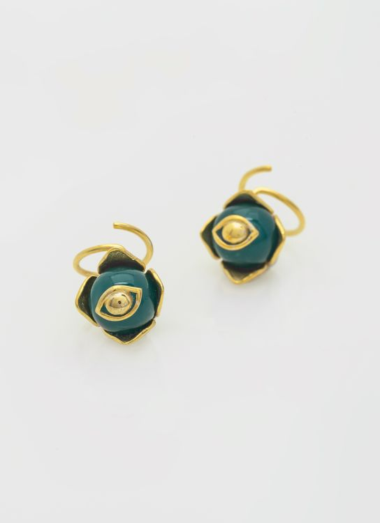 Atelier Pedra Twirl Agathe Earrings - Green