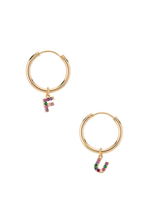 Frasier Sterling Crystal F U Hoops