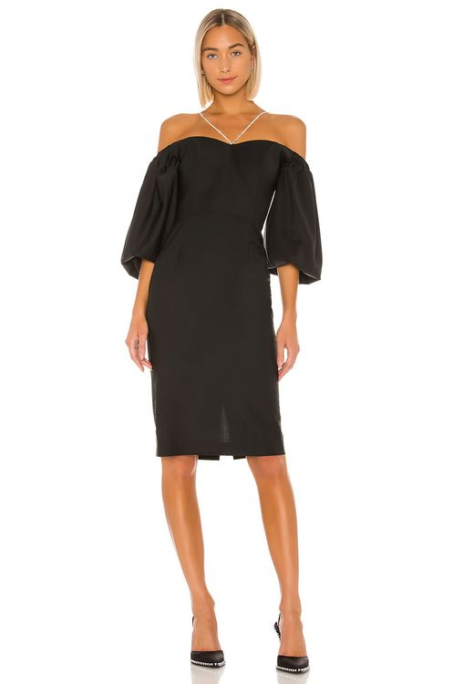 ANOUKI Off Shoulder Puff Sleeve Crystal Chain Detail Dress