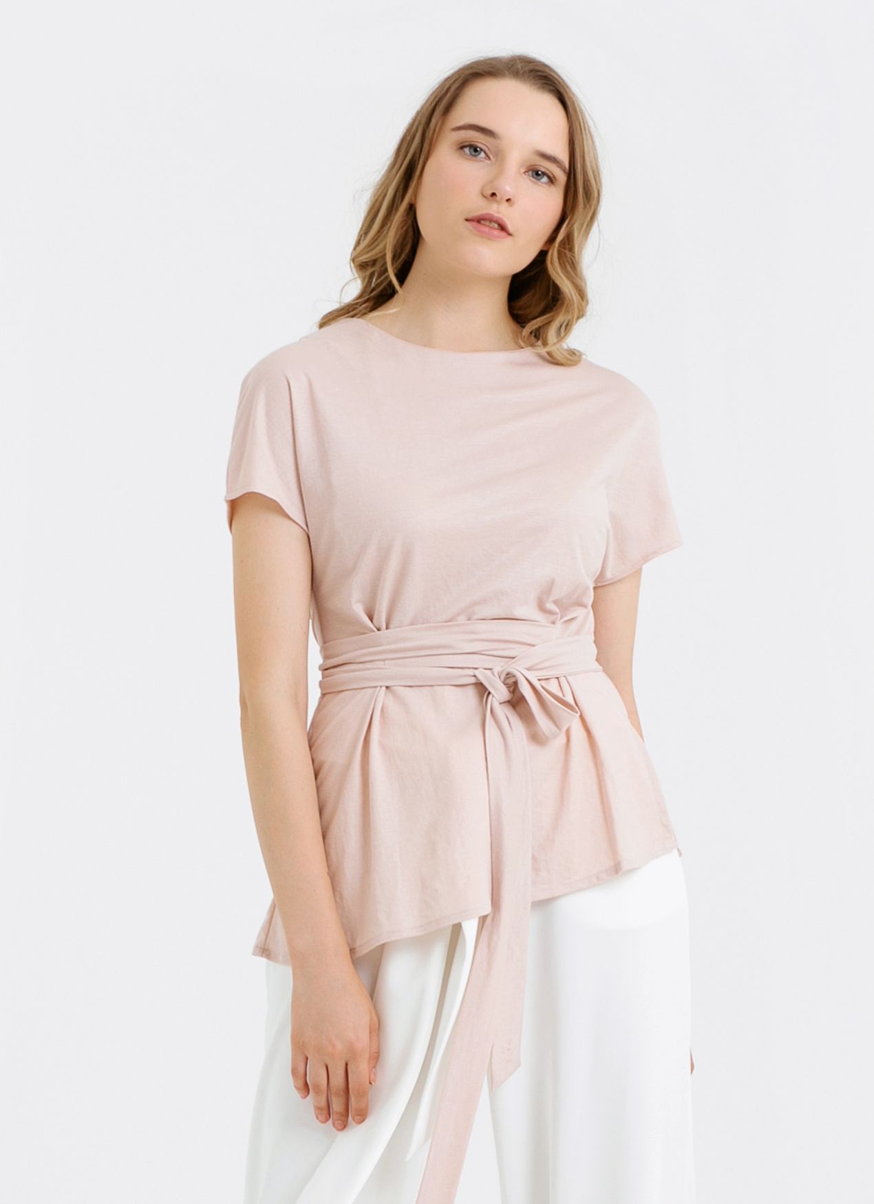 CLOTH INC Asymmetric Hem Tied Top - Rose