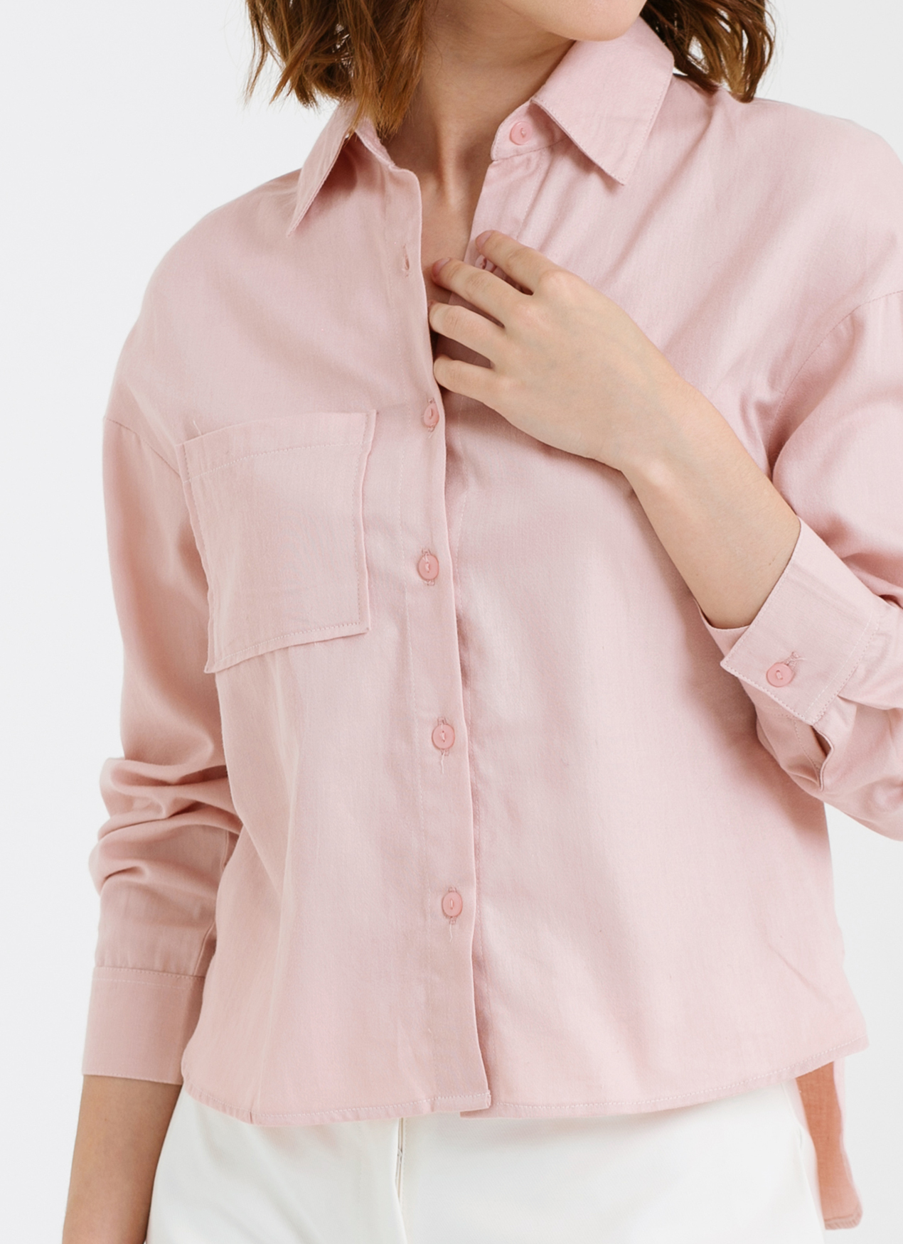 CLOTH INC High-Low Single Pocket Shirt - Pink