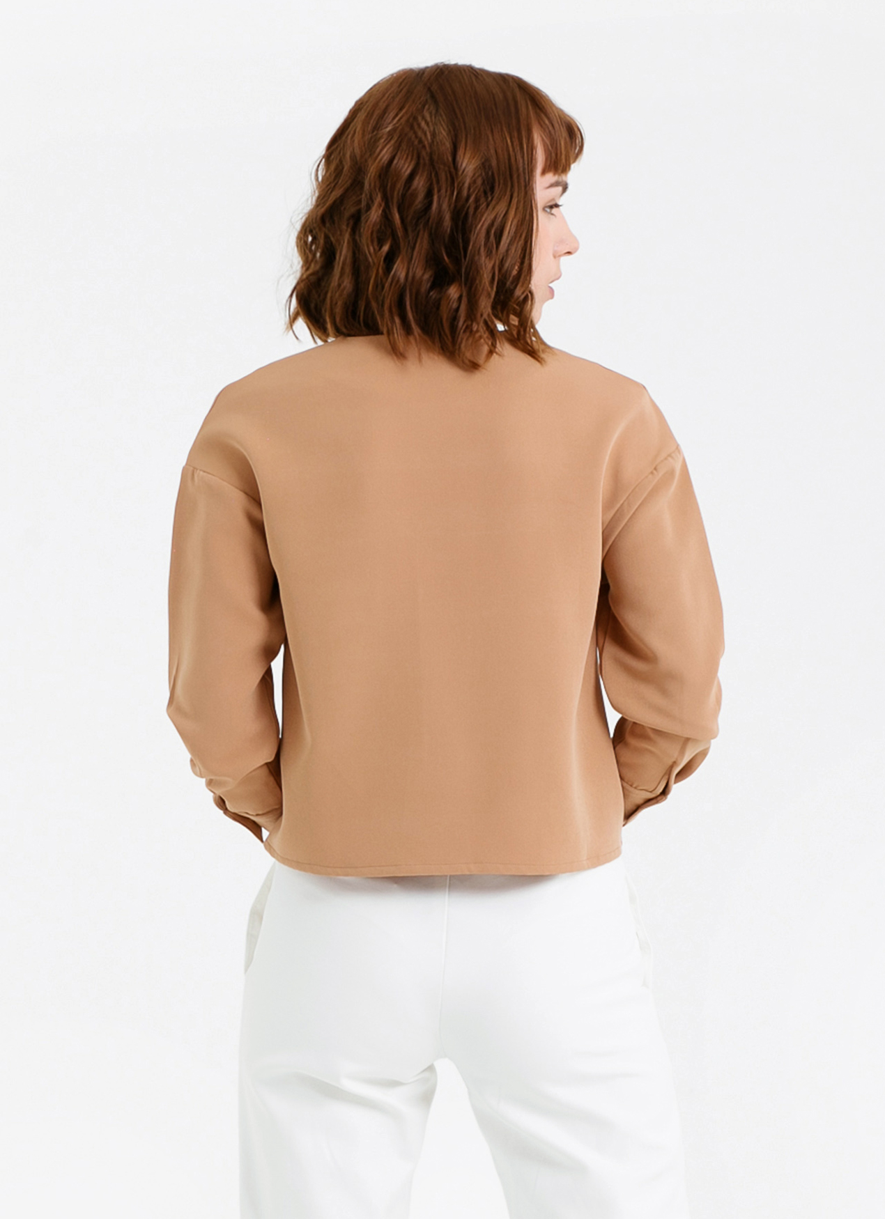 CLOTH INC Long Sleeve Pleated Top - Brown
