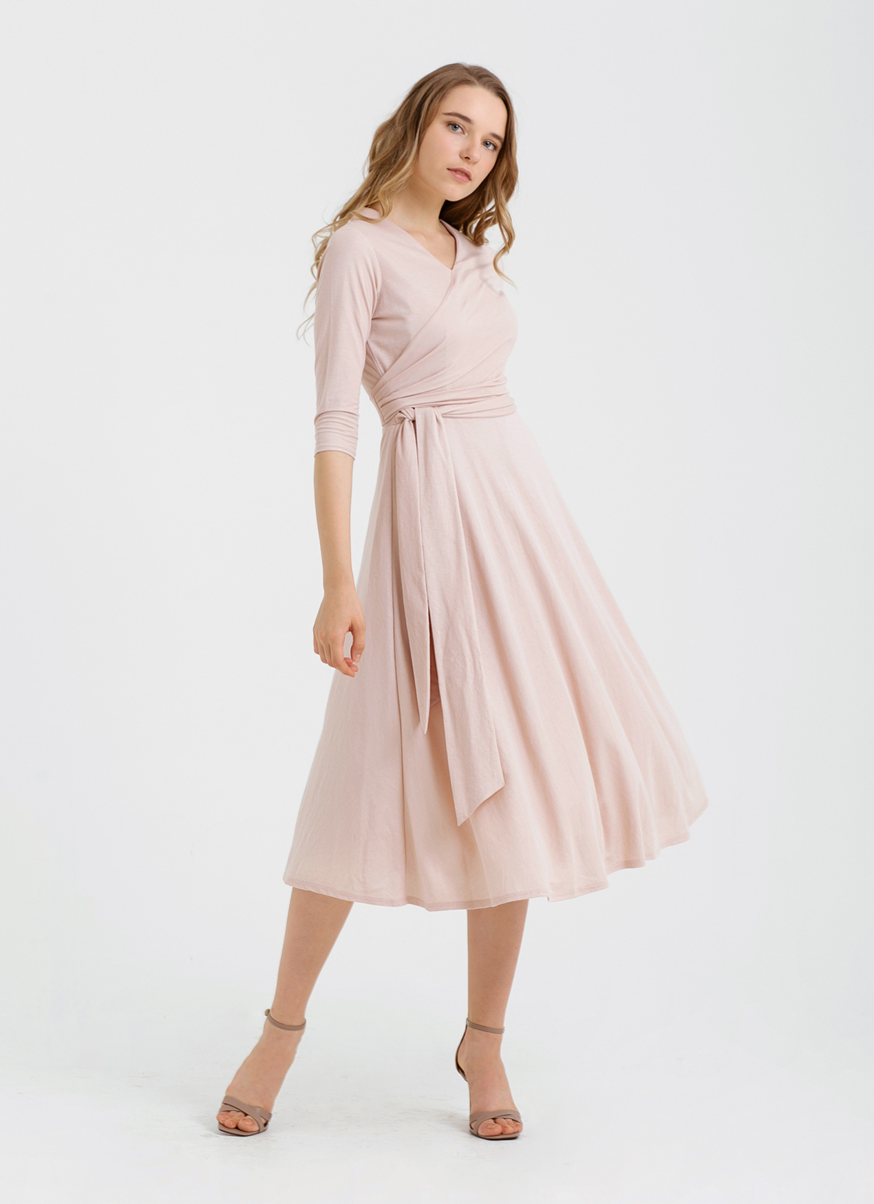 CLOTH INC Overlap Knit Midi Dress - Rose