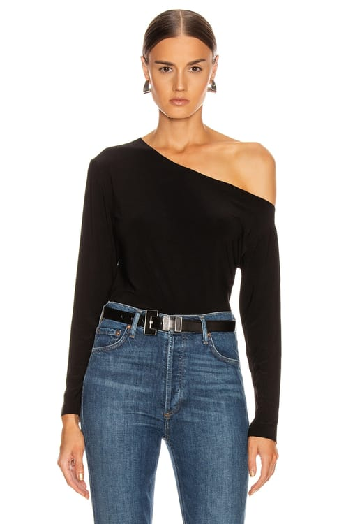 Norma Kamali Long Sleeve Drop Shoulder Top