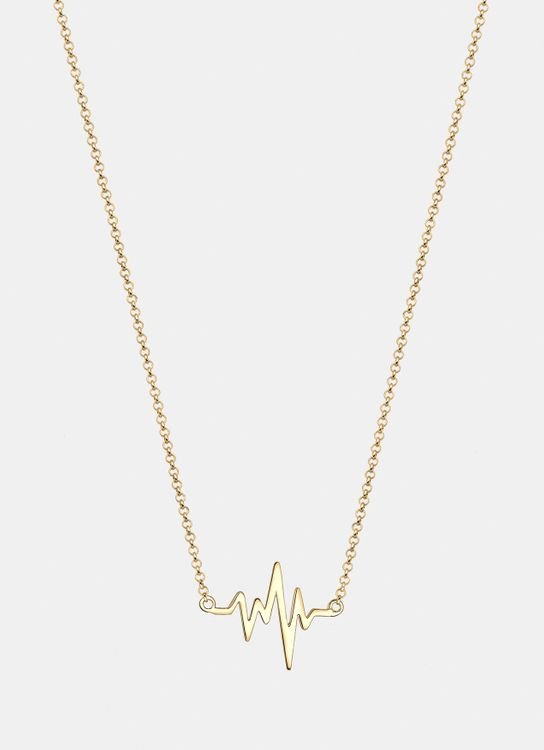 Elli Germany Necklace 925 Sterling Silver Gold Plate Heartbeat