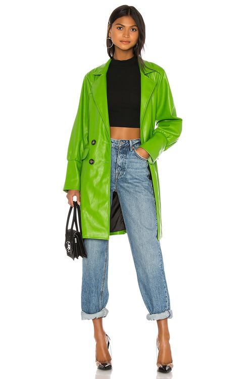 KENDALL + KYLIE Farrah Vegan Leather Trench Coat