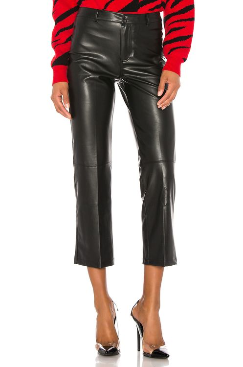 David Lerner Vegan Leather High Rise Straight Leg Pant