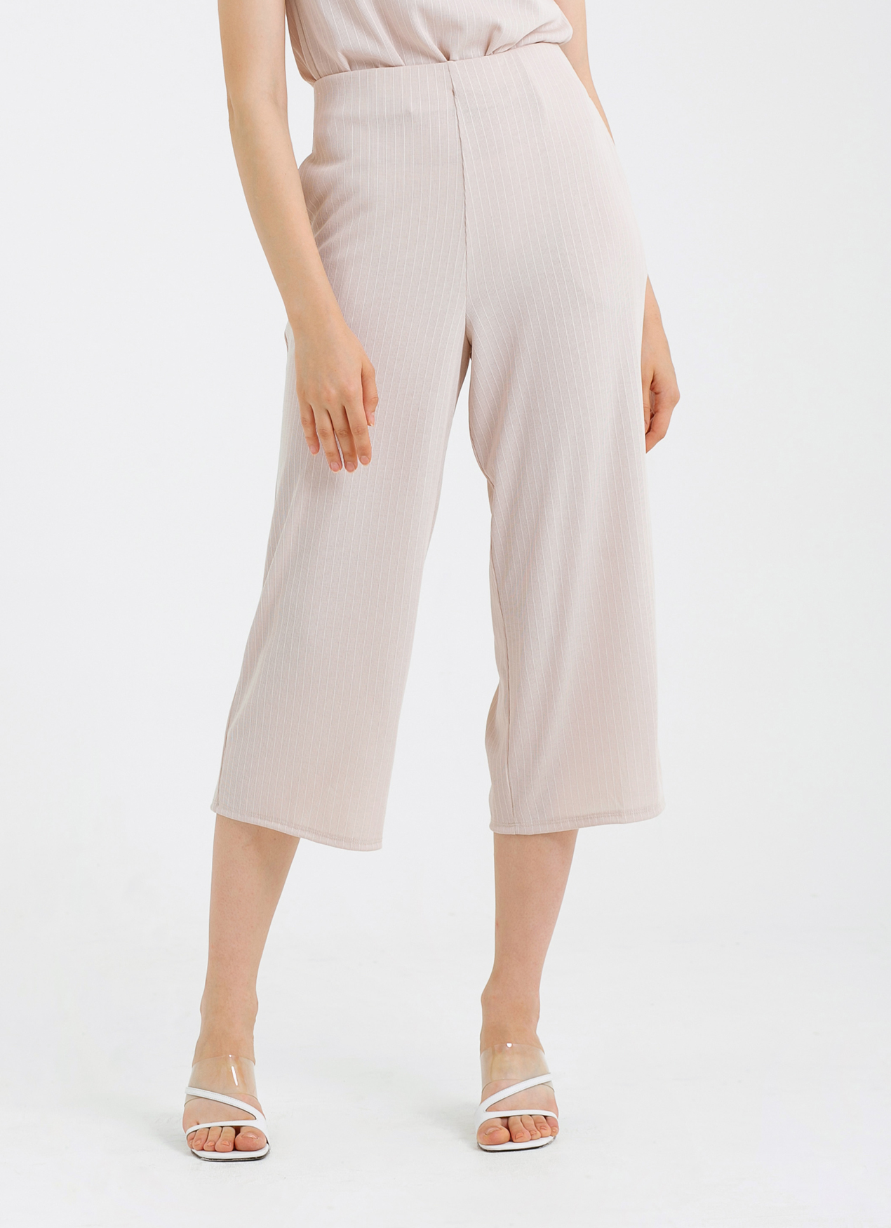 CLOTH INC Ribbed Knit Culottes - Cream