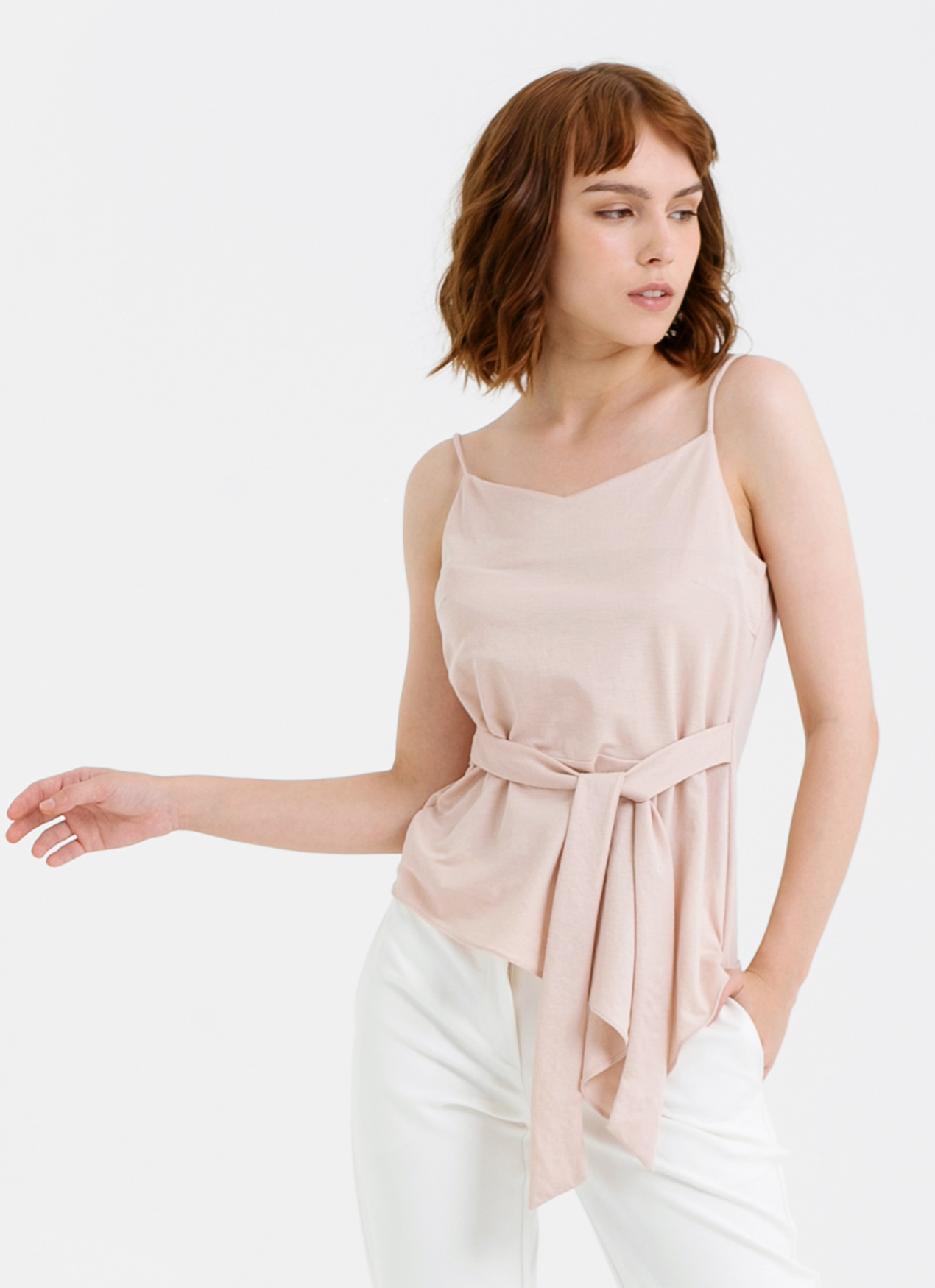 CLOTH INC Tied V Neck Knit Tank - Rose