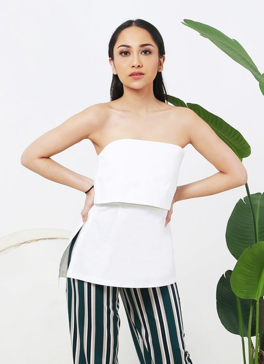 Colleen Daisy Tube Top - White