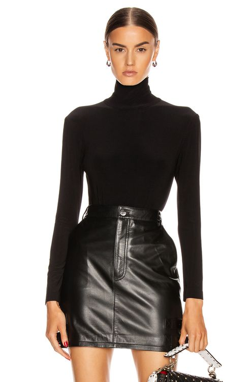 Norma Kamali Long Sleeve Turtleneck Bodysuit