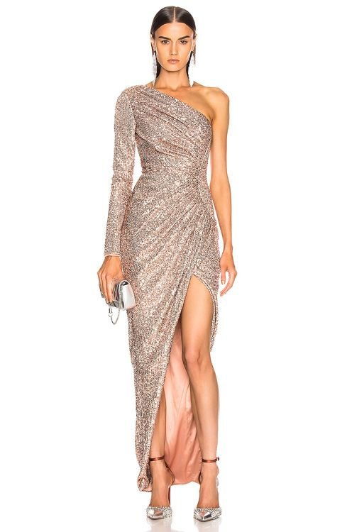 RASARIO One Shoulder Draped Sequin Gown