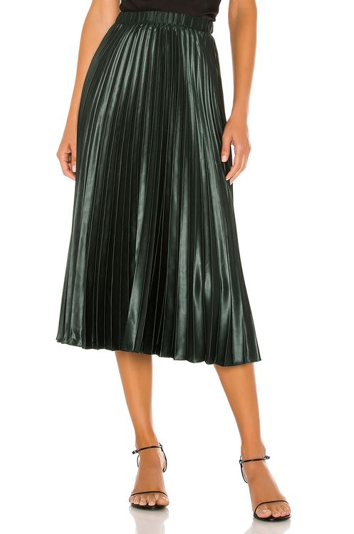 1. STATE Matte Satin Pleated Midi Skirt