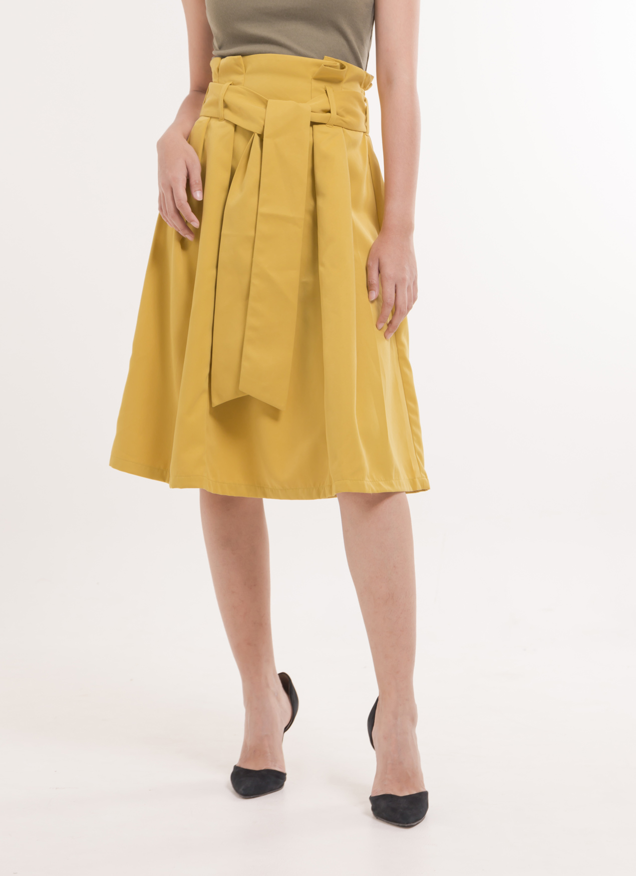 Earth, Music & Ecology Rei Belted Skirt - Mustard