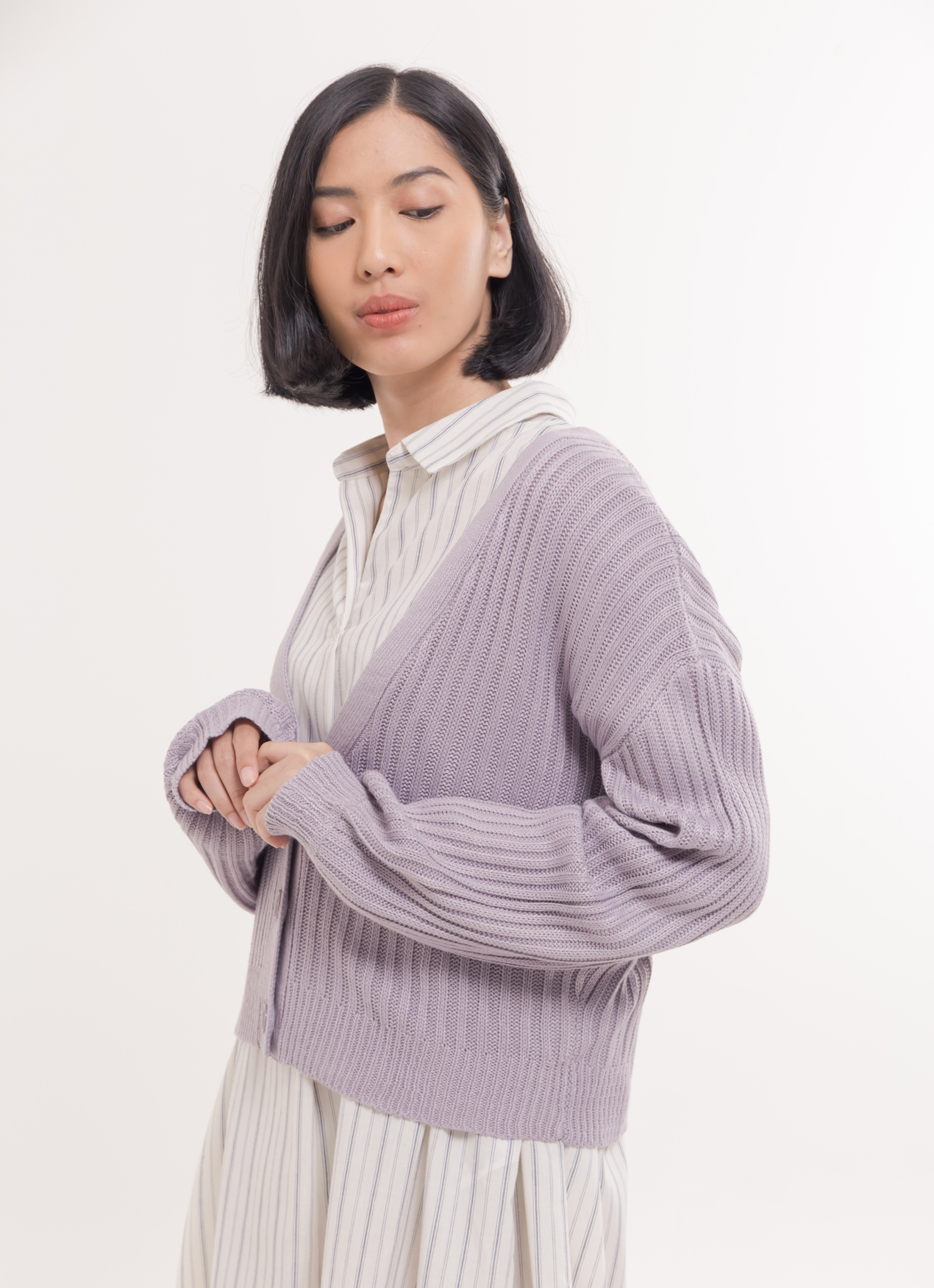 E-hyphen World Gallery Blair Cardigan - Lavender