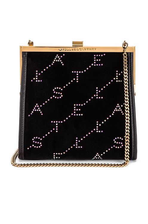 Stella McCartney Mini Frame Monogram Velvet Crystal Bag