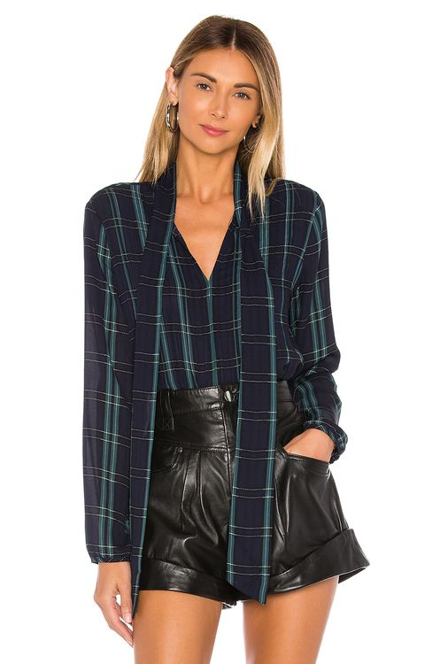 1. STATE Tie Neck Pintuck Sleek Plaid Blouse