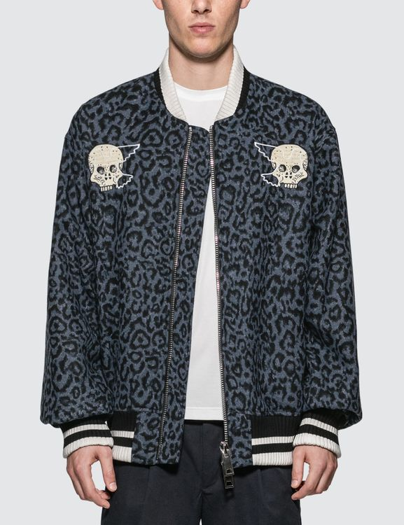 Lost Daze Leopard Skeleton Bomber Jacket