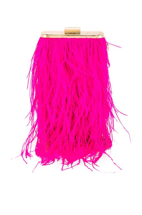 olga berg Tonia Feather Fringed Shoulder Bag