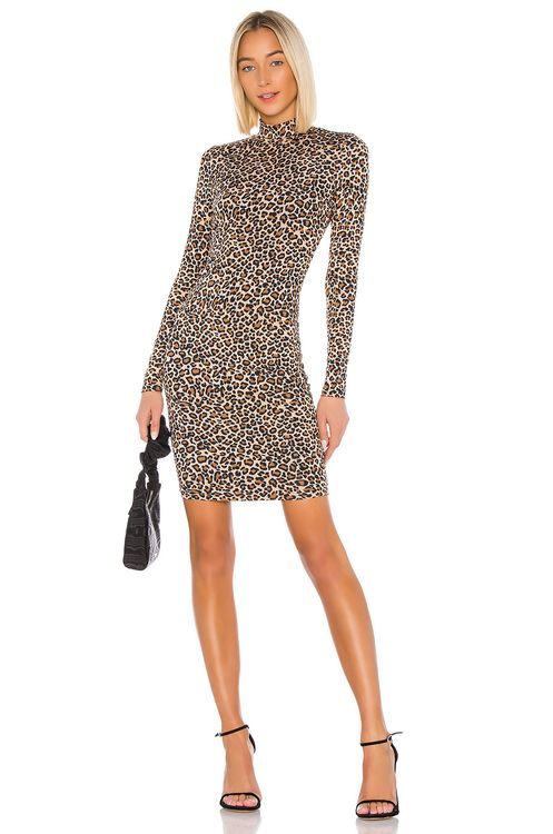 Bardot Leopard High Neck Dress
