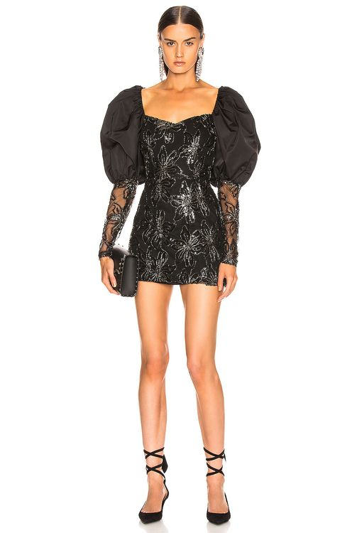 ROTATE Sequin Embellished Puff Shoulder Mini Dress