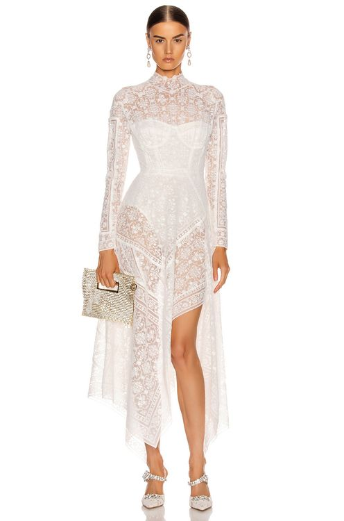 Jonathan Simkhai Scarf Embroidered Hankerchief Bustier Dress