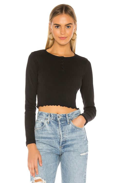 x karla The Crop Henley With Lettuce Hem