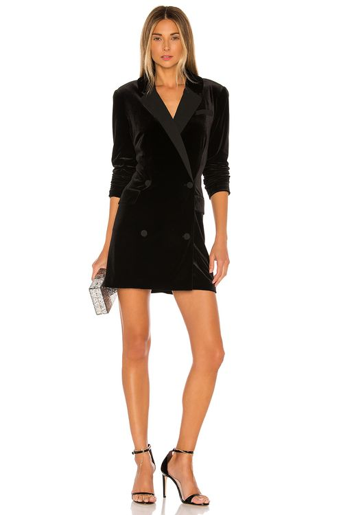 1. STATE Ruched Velvet Blazer Dress
