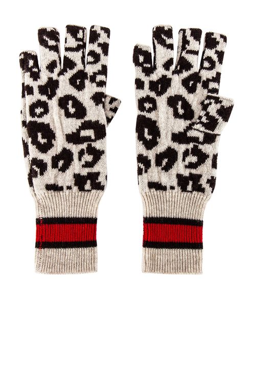 Autumn Cashmere Sporty Athletic Leopard Fingerless Gloves