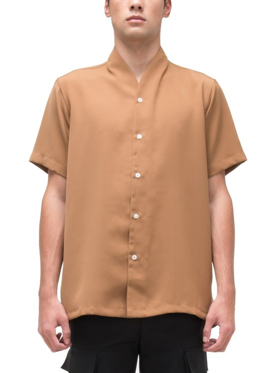 jan sober Camel Collarless Part 3 Short Sleeves Shirt