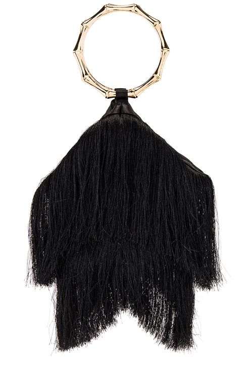 olga berg Teenie Fringed Ring Handle Bag