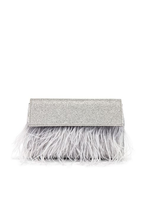 olga berg Mia Glitter Feather Trim Shoulder Bag