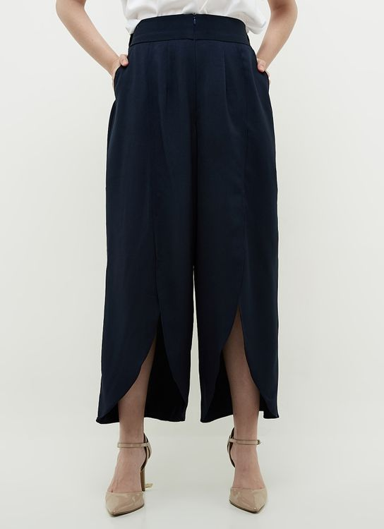 Ree Front Slit Pants - Navy