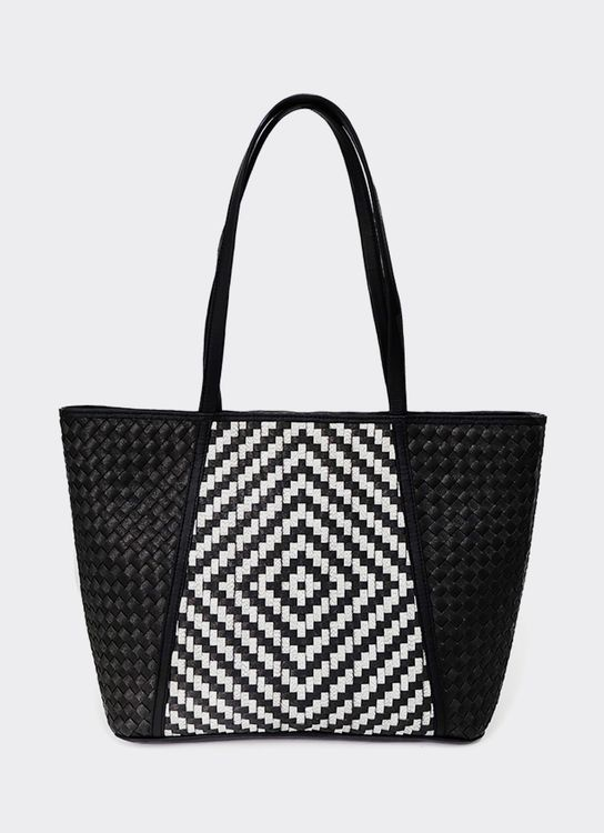 Chameo Couture Peony Black White Tote Bag Black White