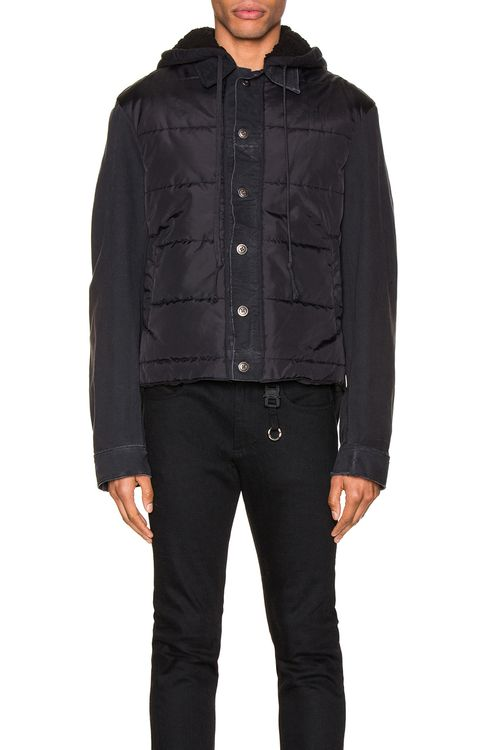 Greg Lauren Nylon Denim Hooded Trucker Jacket