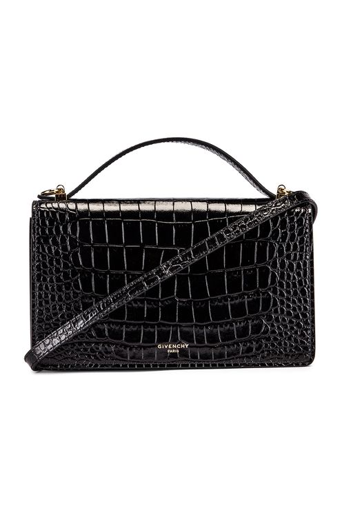 Givenchy Medium GV3 Croc Embossed Crossbody Bag