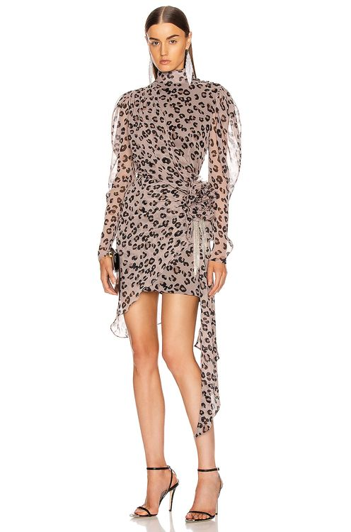 MARIANNA SENCHINA Leopard Gathered Bow Mini Dress