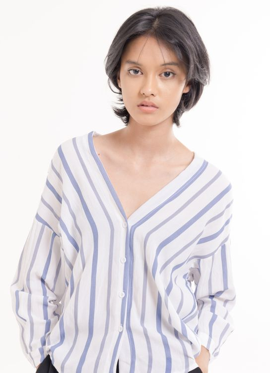 BOWN Carrita Top - Blue and White